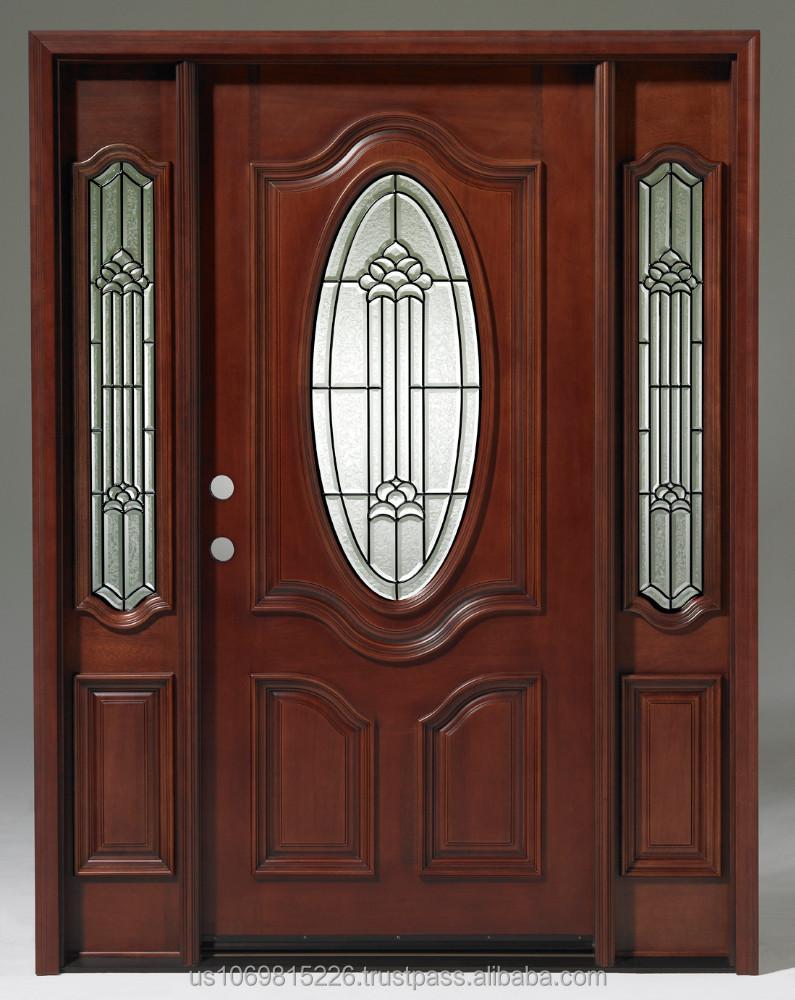 Madera de caoba s lida oval de lujo 1 puerta con 2 for Puertas de madera con vidrio para exterior