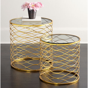 ZhaoHui Metal Vintage Mirrored Round End Table/side Table