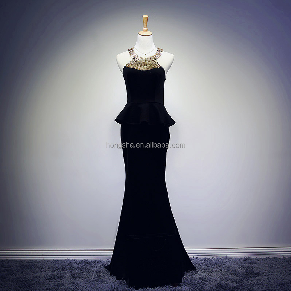 Latest Gown Designs Black Metal Neckline Fish Cut Long Evening Dress ...