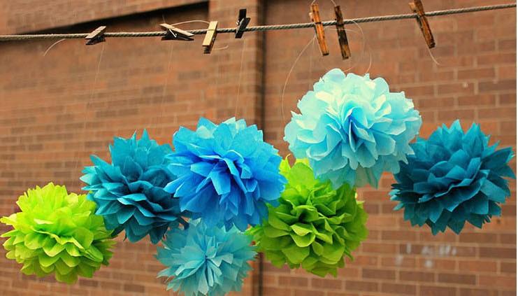 10pcs 25cm 10 paper pom poms wedding tissue flowers baby shower party nursery wall hanging. Black Bedroom Furniture Sets. Home Design Ideas