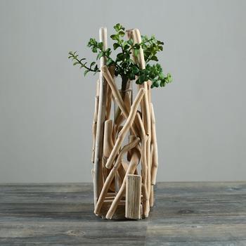 Polishing Driftwood Flower Vase Made Of Natural Beach Driftwood