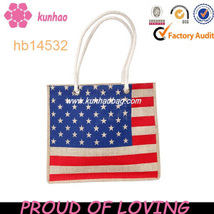adorable usa flag jute bag