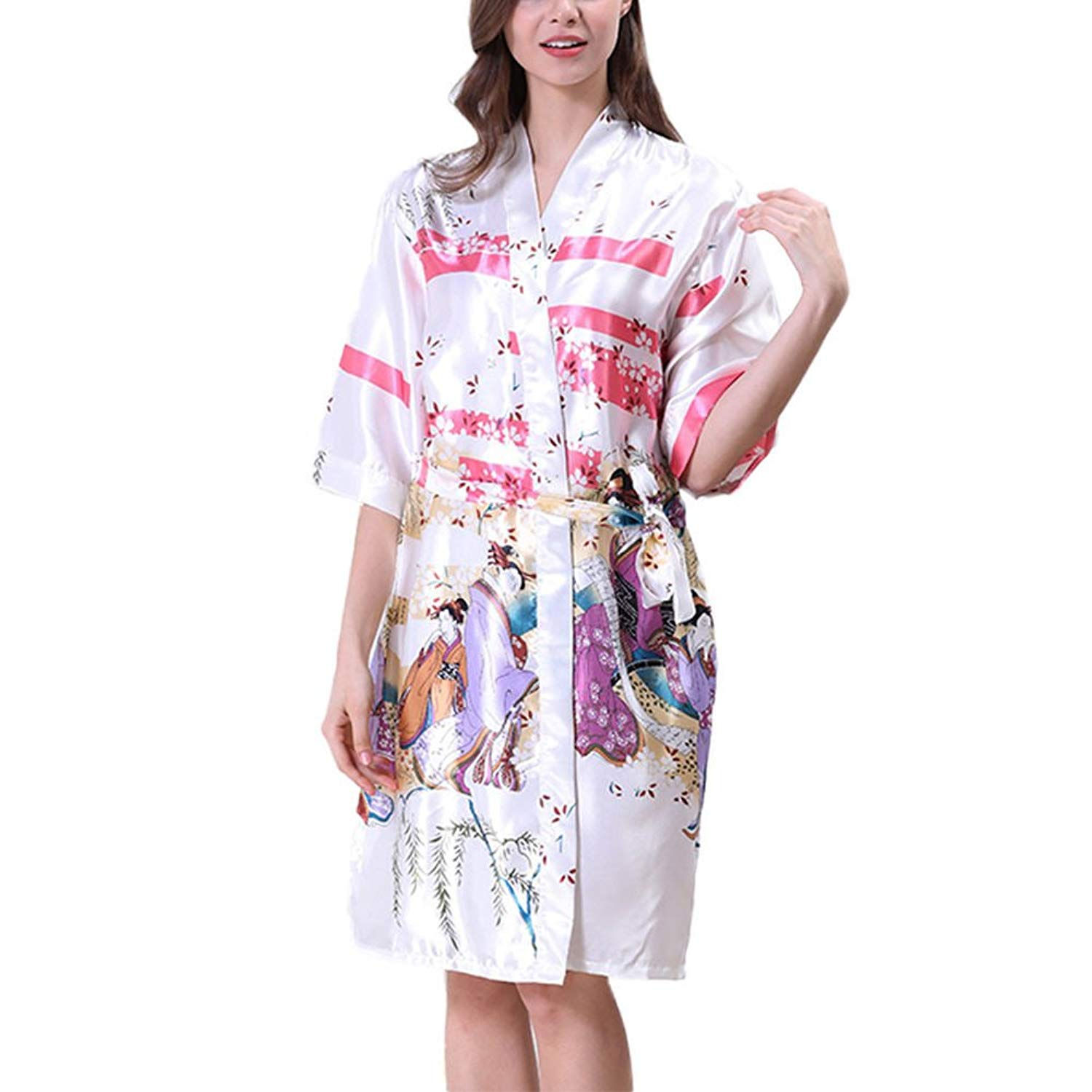 80a6a032c99 Xinvision Women Kimono Printed Satin Silk Nightwear Bathrobe Pyjamas  Nightdress