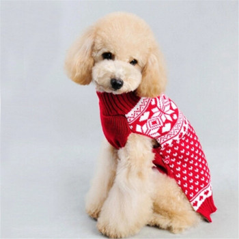 Snowflake Christmas Themed Red Festive Dog Sweater Clothes Winter Dog Pullover