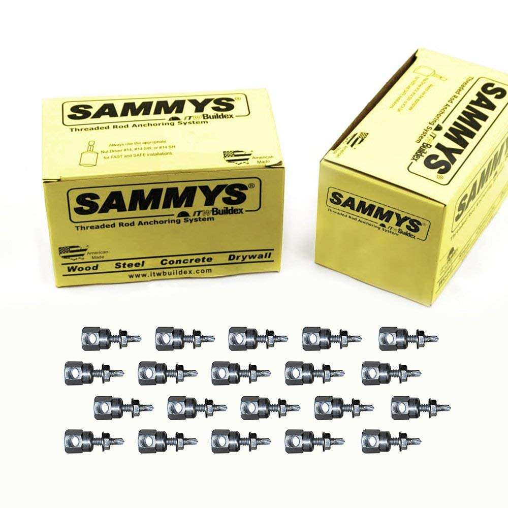 Everflow Sammys 8056957-50 SWDR 516 3/8 Inch Screw Horizontal Threaded Rod Anchor Designed for Steel Structure, Steel, Zinc Plated, Corrosion Resistance, 5/16-18 x 1-1/4 Inch Screw Length (Pack of 50)