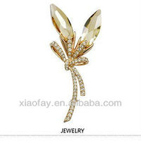 Yellow crystals Brooches 18K Gold Plated Jewelry with Rhinestone