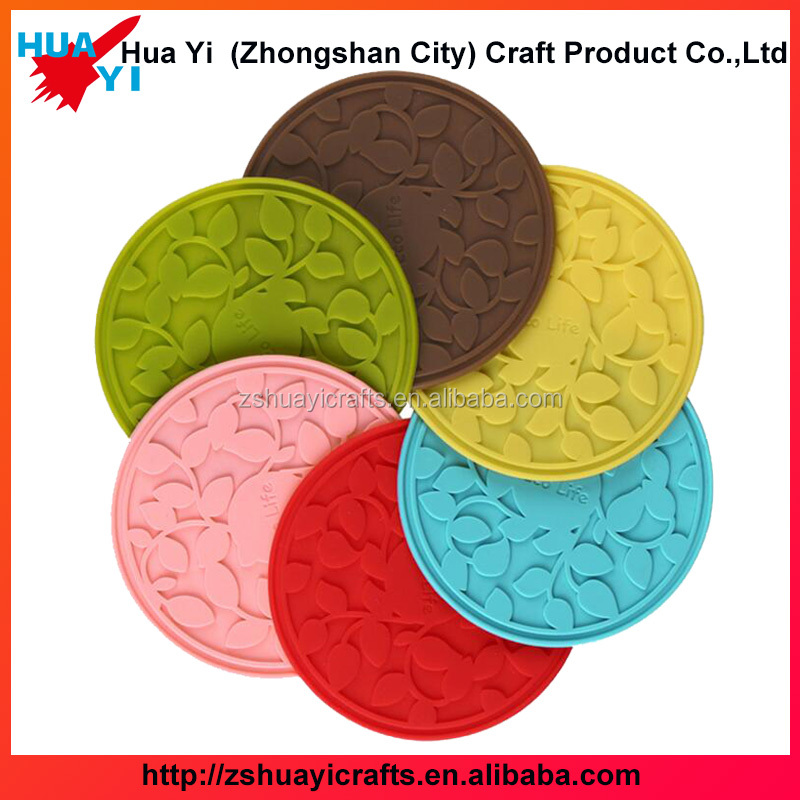 Creative ceramic cup colorful round shaped insulated PVC cup mat PVC coaster