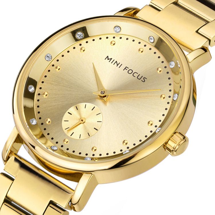 Fashion Metal Ladies Dress Watch Double Dial Waterproof Luxury Women Wristwatch