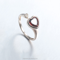 925 Solid Silver AAA Cubic Zirconia Gold Plated Heart Ruby Finger Ring