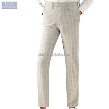 Work Trousers Men Office Suit Pants White Color Slim Fit Mens Plaid Casual New Design