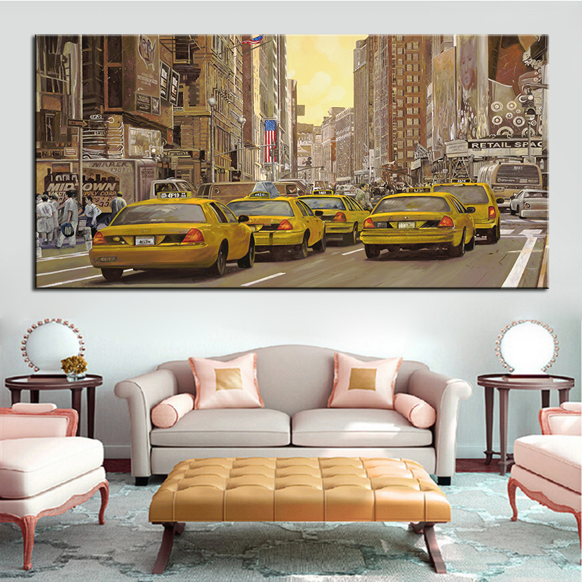 New York Taxi Street City Canvas Wall Art Picture Print Va: Popular Taxi Oil Paintings-Buy Cheap Taxi Oil Paintings