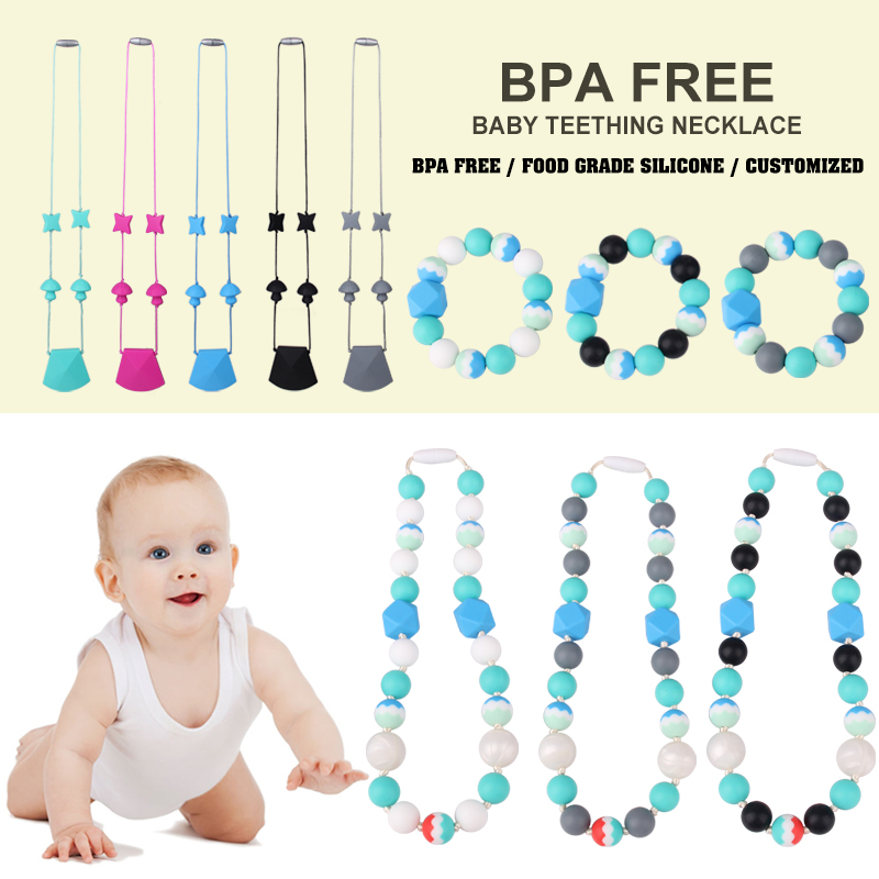 Promotion FDA Food Grade Silicone Beads Jewelry baby teething necklace wholesale