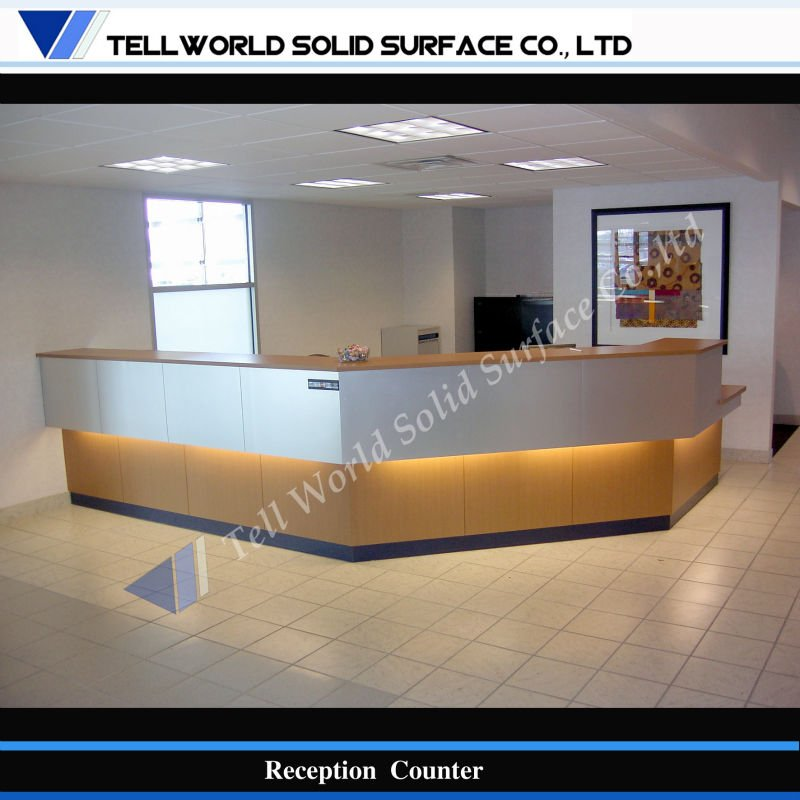 Perfect angle style Acrylic solid surface commercial reception counter