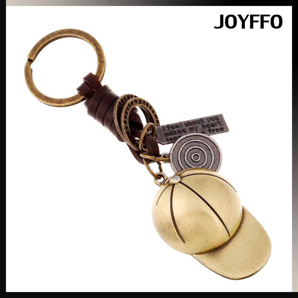 New Design Fashion Retro Style Copper Plating Baseball Cap Metal Leather Key Chains With Alloy Pendant