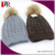 China Factory Custom fleece lined Faux Fur Pom Cable Knit Hat With Lurex