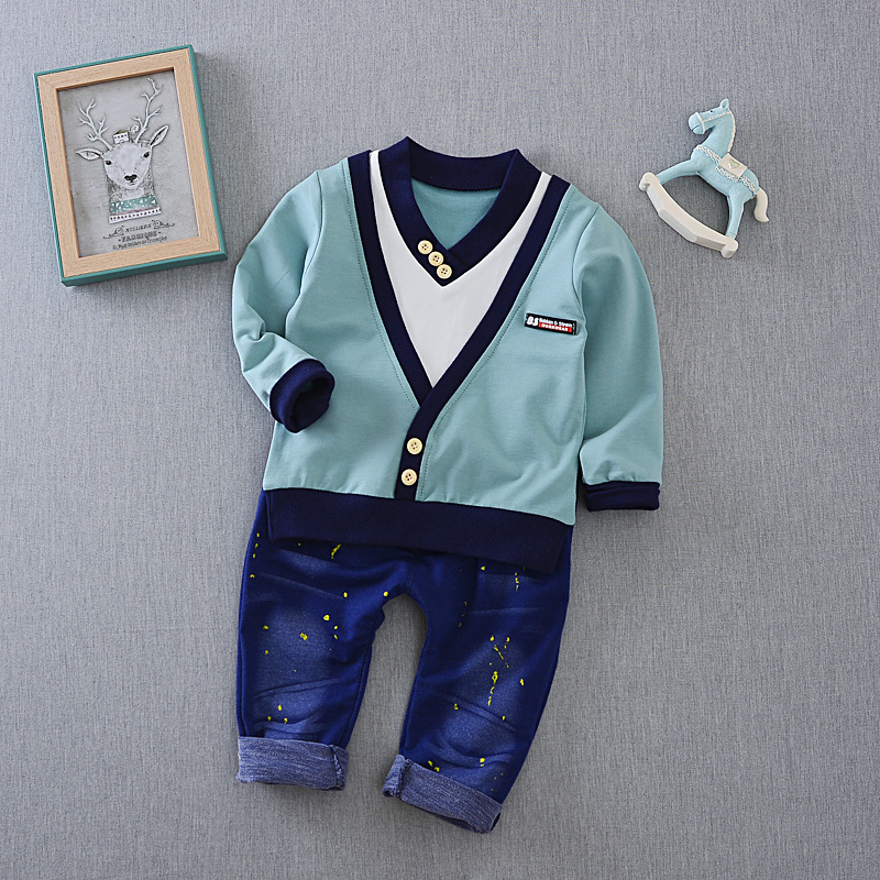 S16177A kids clothing sets pure cotton fleece children clothes boys clothing sets