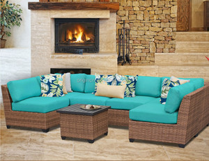 European style high end hotel leisure ways furniture outdoor patio ratan wicker french sofa set