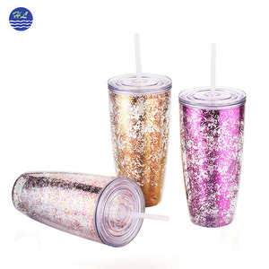 Direct factory wholesale 24oz glitter plastic double wall tumbler cups with straw
