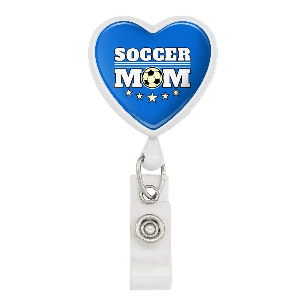 Soccer Mom Mother Sports Heart Lanyard Retractable Reel Badge ID Card Holder - White