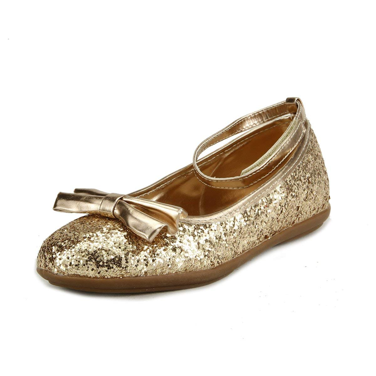 skyhigh Girl's Sparkly Wedding Party Dress Shoes 4 Colors Ankle Wrap Toddler Size (10, Gold)