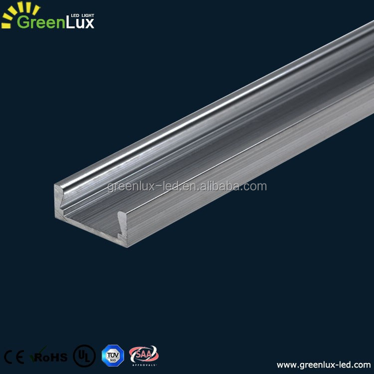 U-Shape LED Aluminum Channel Profile for Flex / Hard LED Strip Lights Installation with White Diffuser Cover, End Caps and Meta