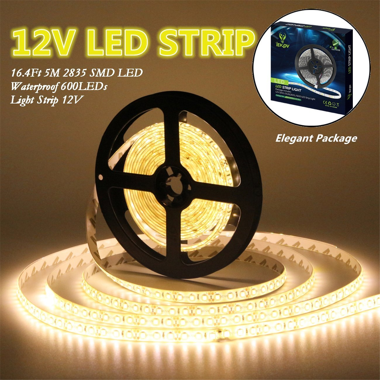 Led Strip Lights, IEKOV™ 2835 SMD 600LEDs Waterproof Flexible Xmas Decorative Lighting Strips, LED Tape, 5M 16.4Ft DC12V, 3 times brightness than SMD 3528 LED Light Strip (Warm White)