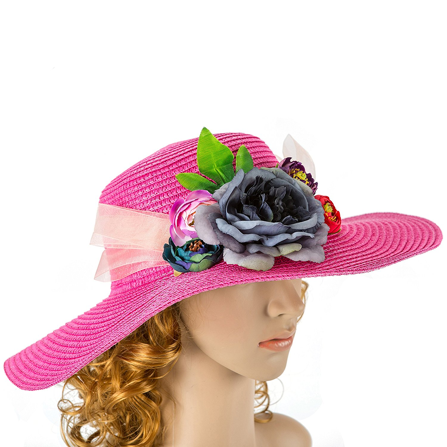 Get Quotations · Off White hot pink Wedding Hat with Real Touch Flowers  Kentucky Derby Hat Fascinator Wedding Accessory d84cff3f3076