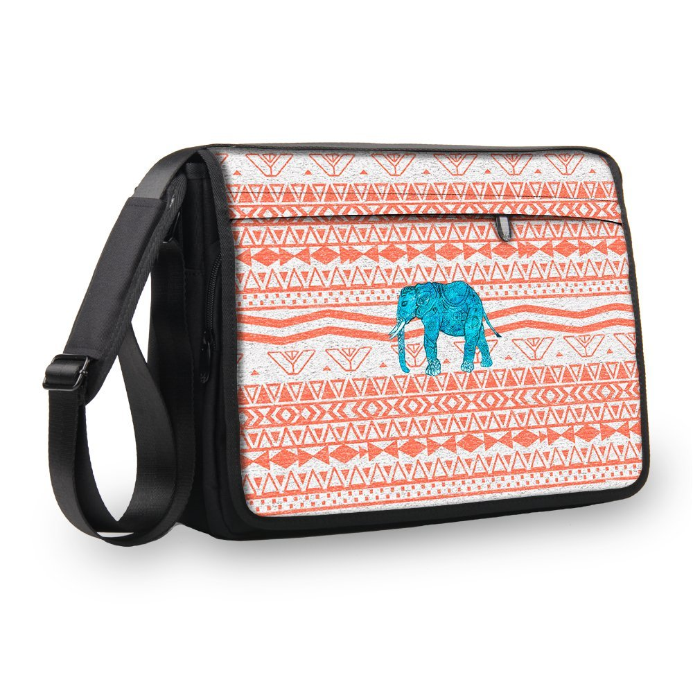 "MySleeveDesign Laptop Messenger Bag Notebook Shoulder Bag 17"" / 17.3"" - Carry Bag With Shoulder Strap - 13.3 Inch / 14 Inch / 15.6 Inch / 17.3 Inch - SEVERAL DESIGNS - Aztec Elephant - 17 inch"