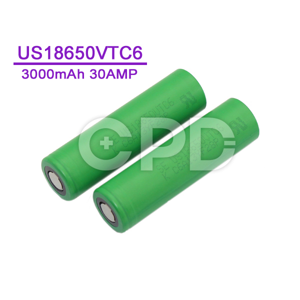 18650 Rechargeable Battery VTC6 3000mAh 30A 3.7V US18650VTC6 Lithium Ion Battery for Sony