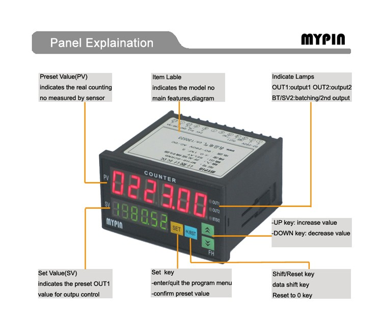 Mypin 2017 One Preset Digital LED Pulse Counter Meter(FH8-6CRNB)