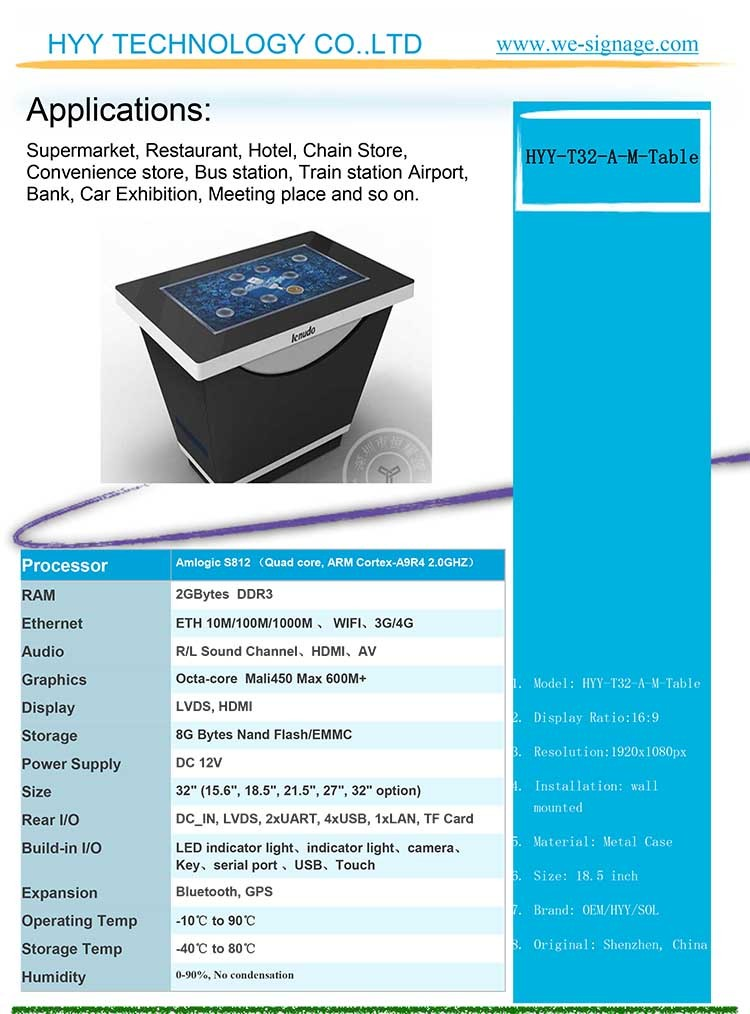 32 Inch Full Led Interactive Smart Coffee Table Touch ...