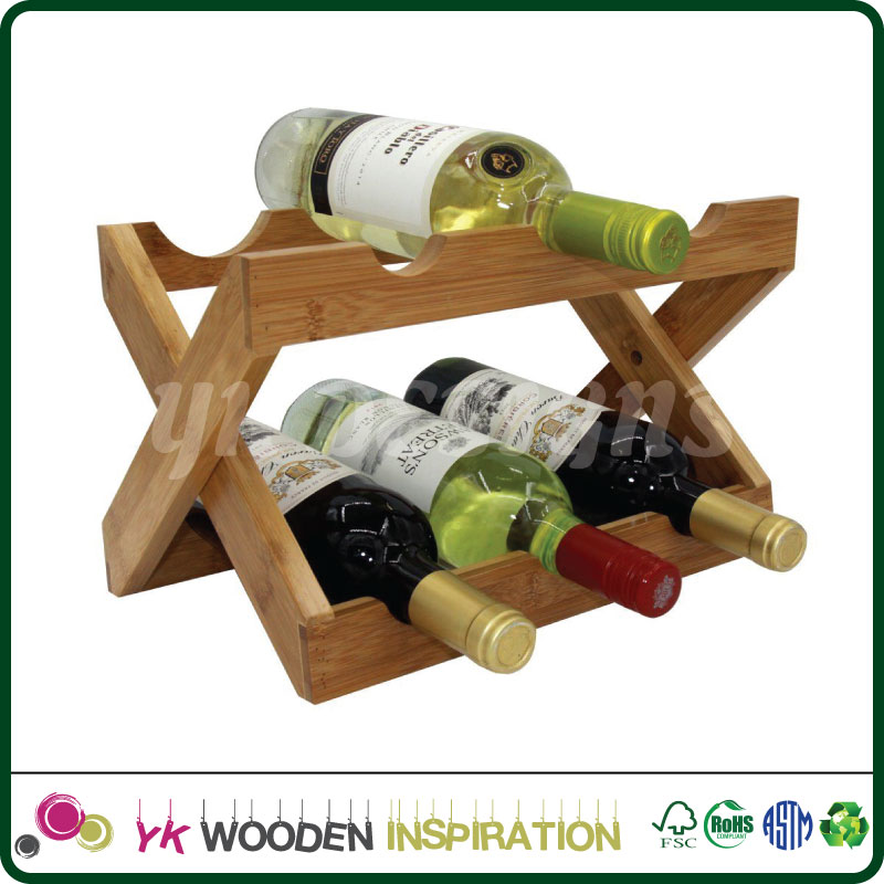 Wine Rack 6 Bottle Holder Storage Wood Bar Kitchen Home Decor Cabinet