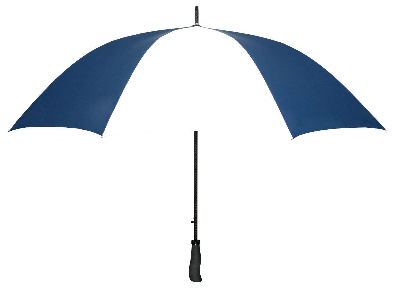 "Navy Blue & White WINDPROOF 64"" Arc TYPHOON Auto Open GOLF Umbrella LIFETIME WARRANTY!"