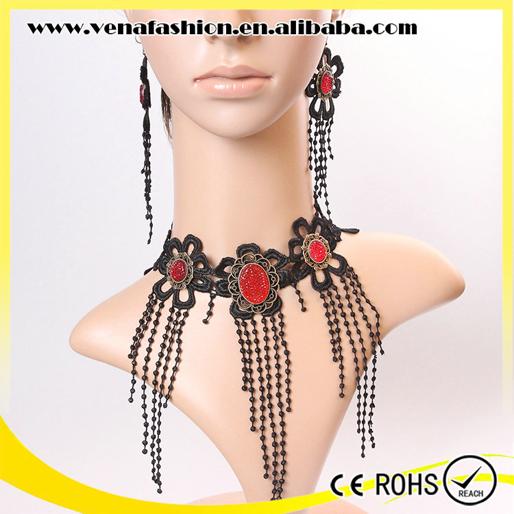 lace fashion indian jewelry set, cheap necklace and earring sets