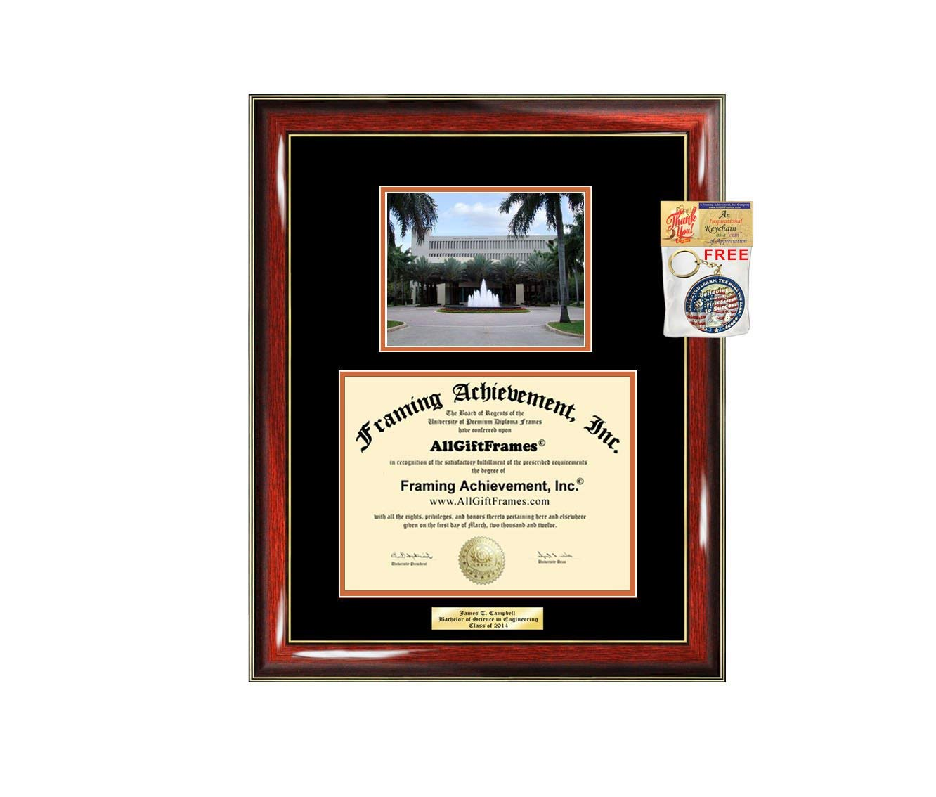 Diploma Frame University of Miami Graduation Gift Idea Engraved Picture Frames Engraving Degree Cheap Graduate Bachelor Masters MBA PHD Doctorate School