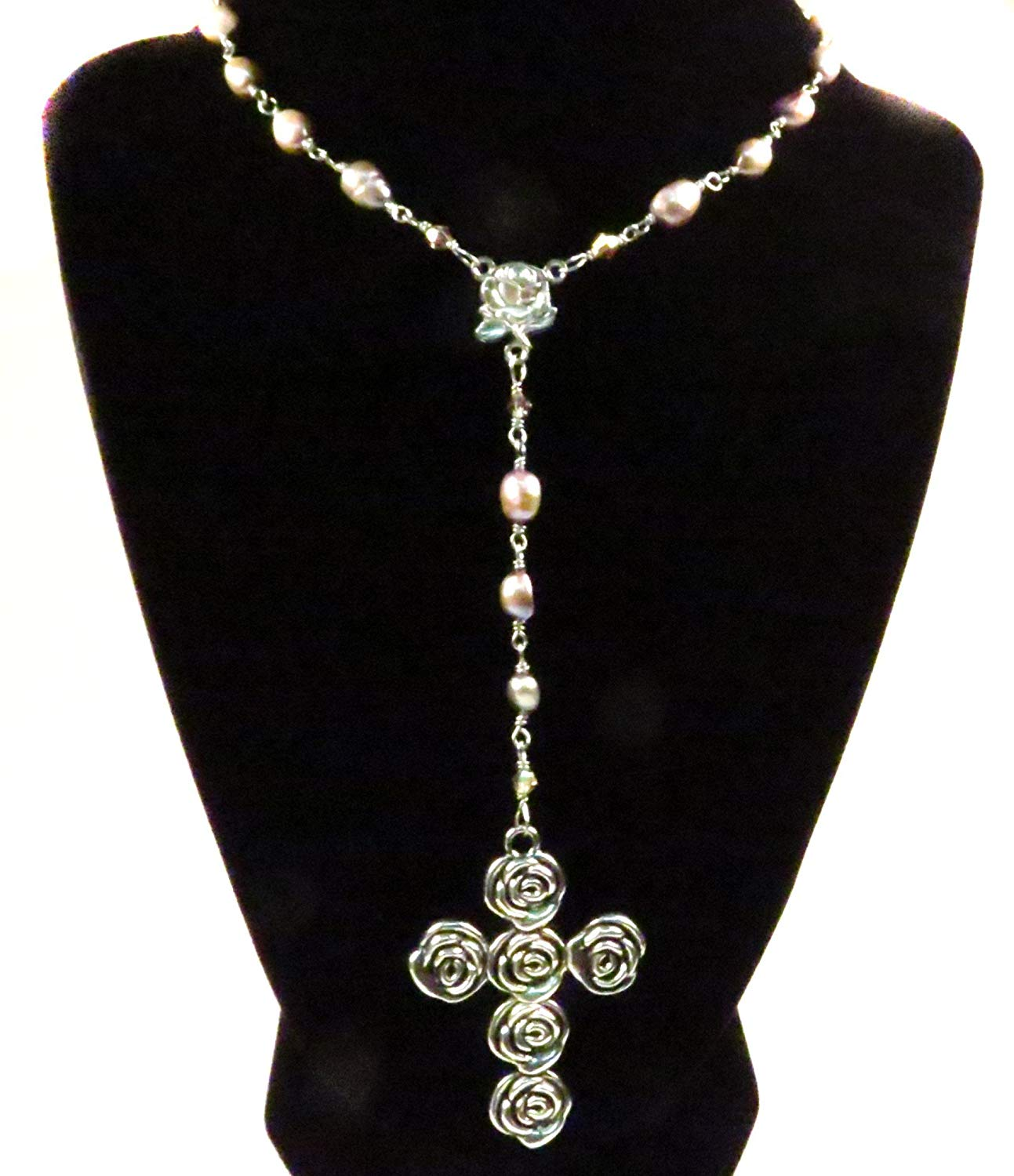 Rosary Necklace Sterling Silver Wire Freshwater Pearls Pink Mauve Handmade Unbreakable Religious Jewelry Christian Gift Ornate Cross Gift for Her