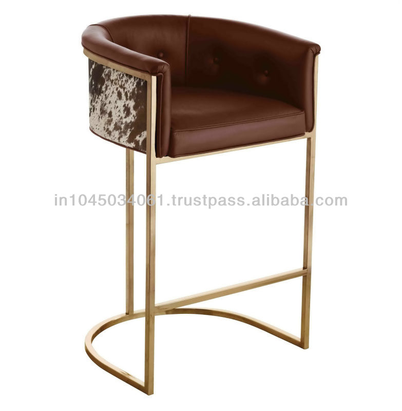 Brown Color Leather Bar & Counter Stool