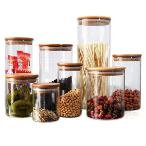 Borosilicate glass storage jar with bamboo lid for tube shaped  for glass spice jar with wooden lid