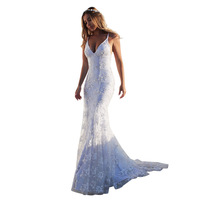 Sexy Deep V-neck Sleeveless Backless Bandage Lace Maxi Long Dresses White Sleeveless Long Dress Wedding Party Dresses