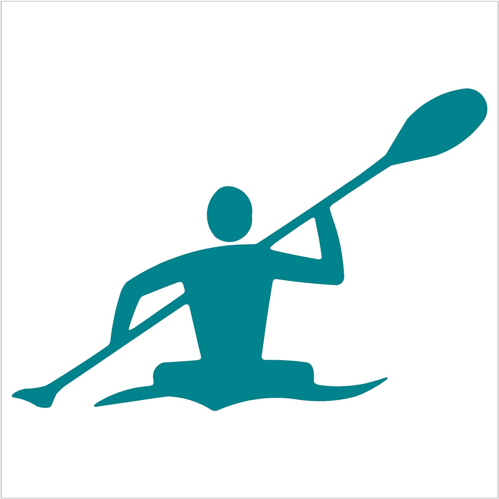 "Kayaker Paddle Kayak Canoe Decal (6"" decal, Teal)"