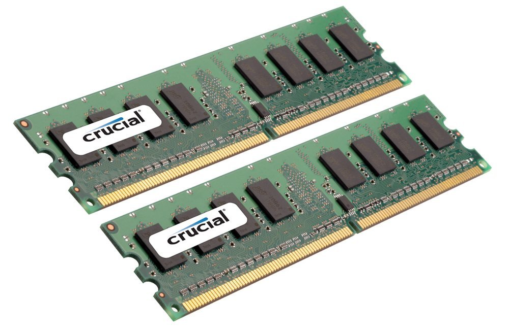 Crucial 4GB (2GBx2) DDR2-667MHz (PC2-5300) CL5 Unbuffered ECC 240pin UDIMM - CT2KIT25672AA667 / CT2CP25672AA667