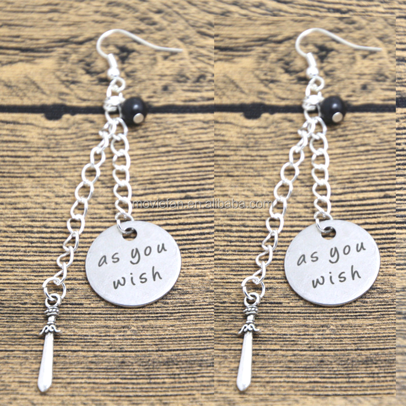 As you wish quote Earrings Princess necklace I love you necklace Silver tone crystal Sword charm dangle earring