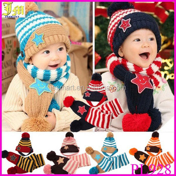 Fashion Lovely New Winter Children Skullies   Beanies Scarf Hat Set Baby  Boys Girls Knitted kids 4d42b46af95
