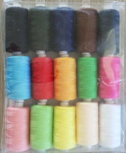 mini plastic bobbin 100% polyester sewing thread with plastic box pack