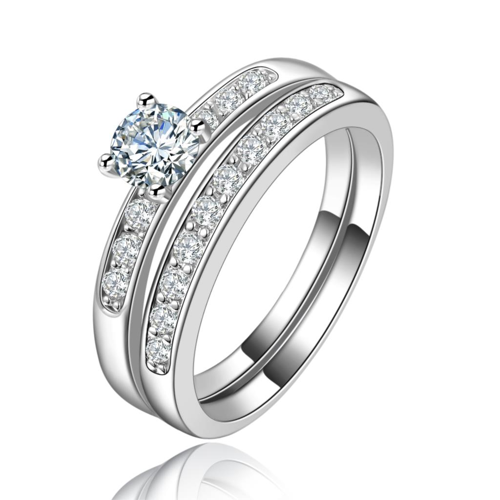 high quality 2pc women wedding ring sets platinum lady jewelry zircon 925 silver ring wholesale. Black Bedroom Furniture Sets. Home Design Ideas