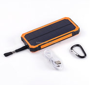 Customs capacity usb solar power bank charger with led light for iphone xiaomi power bank