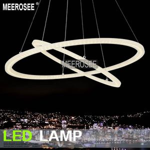 MEEROSEE LED Circle Cord Pendant Light Acrylic Rings Chandelier MD5000