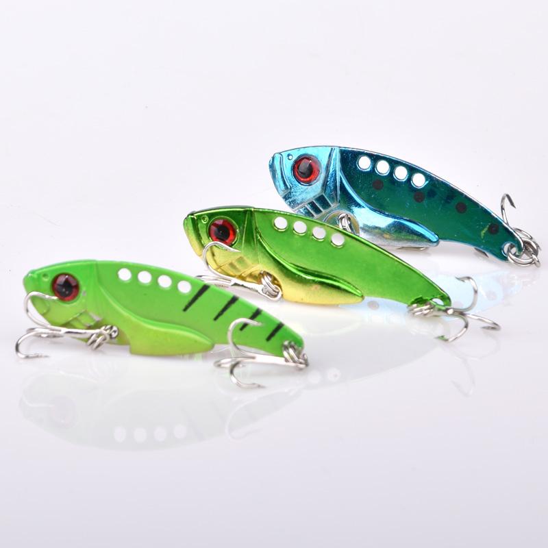 Wholesale  11g various artificial metal spoon fishing vib lure, 3 colors