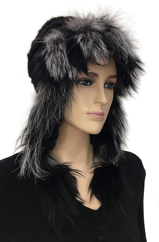 Mink Knit Trooper Hat with Silver Fox Trim and Pom Pom - Black