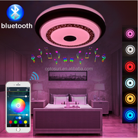 white ceiling light fitting with bluetooth speaker 24w dimmable music smart ceiling lamp